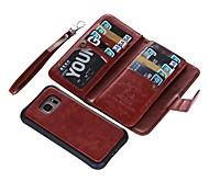 abordables -Coque Pour Samsung Galaxy S9 S9 Plus Porte Carte Portefeuille Clapet Coque Intégrale Couleur Pleine Dur Cuir véritable pour S9 Plus S9 S8