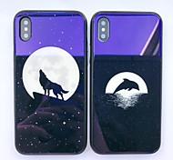 Недорогие -Кейс для Назначение Apple iPhone X iPhone 8 Защита от удара С узором Кейс на заднюю панель Животное Твердый Закаленное стекло для iPhone