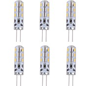 cheap -6pcs 1W 90lm G4 LED Bi-pin Lights T 24 LED Beads SMD 3014 Decorative Green Blue Red 12V