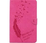 Недорогие -Кейс для Назначение SSamsung Galaxy Tab E 9.6 Бумажник для карт Кошелек со стендом С узором Авто Режим сна / Пробуждение Чехол Перья