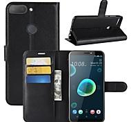 Недорогие -Кейс для Назначение HTC U11 / HTC Desire 12 Кошелек / Бумажник для карт / Флип Чехол Однотонный Твердый Кожа PU для HTC U11 plus / HTC