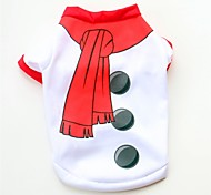 cheap -Dogs / Cats / Pets Vest Dog Clothes Color Block / Simple / Christmas White Cotton Costume For Pets Female Sweet Style / Casual / Daily