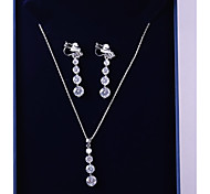 cheap -Women's Cubic Zirconia Jewelry Set - Fashion, Elegant Include Drop Earrings / Pendant Necklace White For Wedding / Evening Party