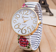 cheap -Women's Wrist Watch Chinese Large Dial / Casual Watch Alloy Band Flower / Fashion Black / White / Green