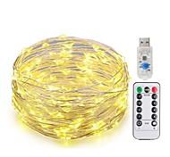 Недорогие -KWB 10 м Гирлянды 100 светодиоды SMD 0603 1 пульт дистанционного управления Keys Тёплый белый / Белый / Синий Новый дизайн / USB / Декоративная Работает от USB 1 комплект