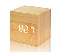 cheap -Multicolor Sounds Control Wooden Clock New Modern Wood Digital LED Desk Alarm Clock Thermometer Timer Calendar Table Decor