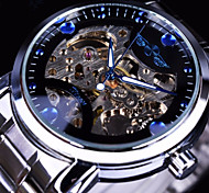 cheap -WINNER Men's Mechanical Watch Automatic self-winding Silver / Gold Hollow Engraving Casual Watch Large Dial Analog Fashion Skeleton - White Black Blue