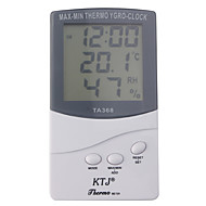 cheap Industry & Business-Digital LCD Outdoor/Indoor Temperature Hygrometer Thermometer With Clock TA368