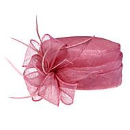 upea pellava kanssa sulka häät / juhlimista / häämatka hattu (1192-005)