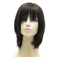 sin tapa de mediano a largo negro y sedoso recta peluca de cabello humano 100%