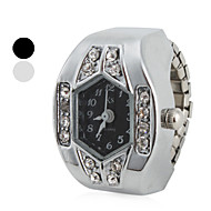 hesapli Yüzük Saatler-Kadın's Quartz Yüzük Saat Japonca imitasyon Pırlanta Bant Işıltılı Gümüş