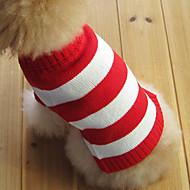 저렴한 -고양이 강아지 스웨터 강아지 의류 스트라이프 레드 면 코스츔 제품 겨울 남성용 여성용 패션 크리스마스