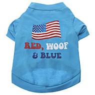 저렴한 -강아지 티셔츠 강아지 의류 문자와 숫자 블루 밝은 블루 면 코스츔 제품 모든계절 & 가을