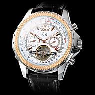 Недорогие Мужские часы-Муж. Механические часы Наручные часы С автоподзаводом С гравировкой Кожа Группа Роскошь Черный