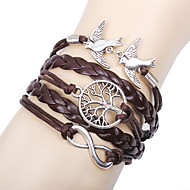 Women's Charm Bracelet Leather Bracelet Wrap Bracelet Basic Friendship Multi Layer Handmade Personalized Costume Jewelry Leather Love