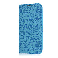 För Samsung Galaxy-fodral Korthållare / med stativ / Lucka / Mönster / Läderplastik fodral Heltäckande fodral Enfärgat PU-läder Samsung S4