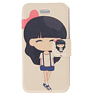 Fragrant Smell Modern Girl Pattern Full Body Case with Matte Back Cover and Stand for iPhone 4/4S