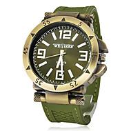 Homens Relógio Militar Relógio de Pulso Quartzo Silicone Banda Preta Verde