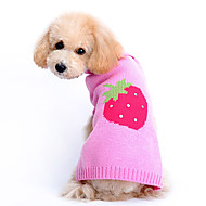 Dog Sweater Dog Clothes Woolen Winter Spring/Fall Cute Fruit Pink Costume For Pets