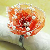 Csipke Virág Esküvői szalvétagyűrű készlet 12, Dia 4,5 cm-es