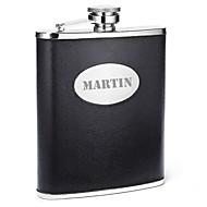 abordables Copas y Vasos Personalizados-mayúsculas de cuero del padre personalizada del regalo del día de la PU negro 8 oz frasco