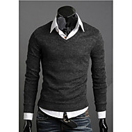 cheap -Men's Daily / Weekend Casual Solid Colored Long Sleeve Slim Regular Pullover, V Neck Fall / Winter Yellow / Coffee / Wine L / XL / XXL
