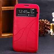 Недорогие Чехлы и кейсы для Galaxy Note 2-Для Samsung Galaxy Note с окошком / Флип Кейс для Чехол Кейс для Один цвет Искусственная кожа Samsung Note 2