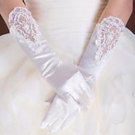 billige Handsker og luffer-Blonde Satin Polyester Albuelængde Handske Klassisk Brudehandsker Fest-/aftenhandsker With Solid