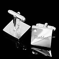 abordables Accesorios de Moda Personalizados-Regalo personalizado Squared Mancuernas grabadas plata con diamantes de imitación