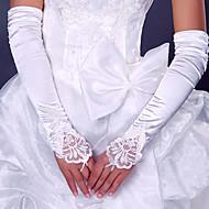 voordelige Handschoenen & Wanten-Stretchsatijn Polyester Operalengte Handschoen Klassiek Bruidshandschoenen Feest/uitgaanshandschoenen With Effen