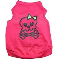 お買い得  -ネコ 犬 Tシャツ 犬用ウェア スカル ローズ コットン コスチューム ペット用 男性用 女性用 キュート ハロウィーン