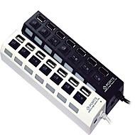 Hub usb 2.0 de alta velocidade de 7 portas com interruptor independente e leds