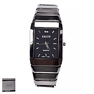 Personalized Gift Men's Square Black  Dial Tungsten Steel Strap Analog Engraved Watch