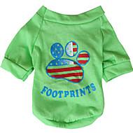저렴한 -강아지 티셔츠 강아지 의류 국기 미국 / 미국 옐로우 그린 면 코스츔 제품 모든계절 & 가을