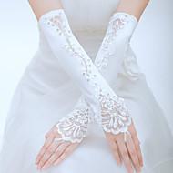 voordelige Handschoenen & Wanten-Tule Polyester Ellebooglengte Handschoen Klassiek Bruidshandschoenen Feest/uitgaanshandschoenen With Effen