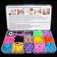 BaoGuang®Rainbow Color Loom Bands Set(1Pak Clips,1Hook,1 Looms,3pcs Pendant,1Box)