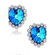 Stud Earrings Synthetic Sapphire Love Luxury Synthetic Gemstones Rhinestone Glass Imitation Diamond Alloy Heart Jewelry For Wedding Party