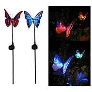 Set of 2 Solar Power Fibre Optical Butterfly RGB Colors LED Light Garden Outdoor Lamp