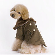 Dog Coat Dog Clothes Cotton Winter Keep Warm Fashion Solid Brown Costume For Pets