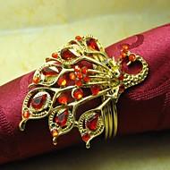 Metal Bird Of Maravilha Cristal Guardanapo Ring, Metal, 4cm, conjunto de 12,