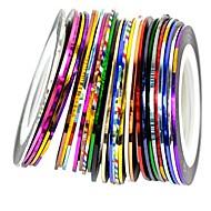 30pcs karışık renkler şeritleme bant çizgi tırnak sanat dekorasyon sticker rulolar