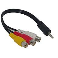 billiga Tillbehör till datorer och surfplattor-3,5 mm hane till 3 RCA-adapter AV-kabel för Audio Video 20cm