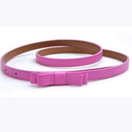 Women's Candy color Double Bow  Leather Skinny Belt