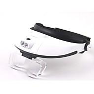 lentille multiple bidirectionnelle réglementation tête-porter loupe avec 2-conduit de lumière (3 x AAA)