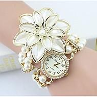 Dame Modeur Armbåndsur Simuleret Diamant Ur Quartz Imiteret Diamant Legering Bånd Blomst Perler Elegant Hvid Guld