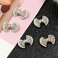 10db bling ab kristály strassz bowtie gyöngy 3d ötvözet nail art dekoráció