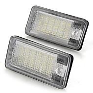 흰색 한 쌍의 자동차 번호판 램프 전구 18 SMD는 아우디 A3 A4 8E RS4의 A6의 RS6에 대한 조명 12V를 주도