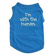 お買い得  -ネコ 犬 Tシャツ 犬用ウェア 文字&番号 ブルー コットン コスチューム ペット用