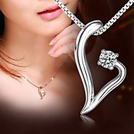 abordables Sale-Personalized Gift 925 Silver Heart Shape Pendant Necklace LIWUYOU™
