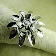 χέρι λουλούδι δαχτυλίδι πετσέτα σε ασημί, ακρυλικό beades, 4,5 εκατοστά, σετ των 12